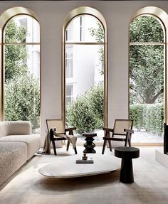 Home Decor Living Room Arched windows and modern timeless decor.Home Decor Living Room Arched windows and modern timeless decor Interior Exterior, Home Interior Design, Interior Architecture, Interior Decorating, Arch Interior, Luxury Home Designs, Interior Lighting Design, Room Interior, Design Homes