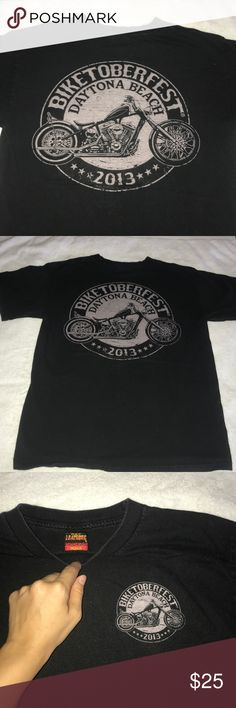 2013 Biketoberfest Tshirt • Preloved bike shirt • 2013 Daytona beach, Florida • Black and I'd say a very light pink color • Size medium probably more like a small but not 100% Tops