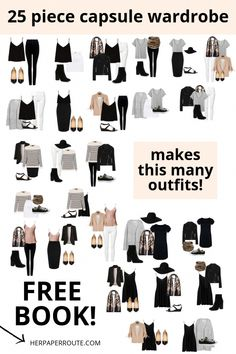 What is a capsule wardrobe? Free capsule wardrobe book to help you plan your minimalist wardrobe and save money in style. Capsule Outfits, Fashion Capsule, New Outfits, Plus Size Capsule Wardrobe, Work Wardrobe, Professional Wardrobe, Classic Wardrobe, Minimalist Wardrobe Essentials, Wardrobe Planner