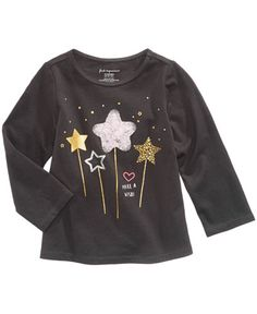 First Impressions Wand-Print T-Shirt, Baby Girls months), Created for Macy's - Gray 24 months Newborn Girl Outfits, Toddler Girl Outfits, Kids Outfits, Kids Girls Tops, Macy Gray, New T Shirt Design, Winter Outfits For Girls, Cute Stars, Girls Blouse