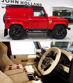 "AUCTION / SALES WATCH: 2015 Bespoke OverLand D90 - ""Ferrari inspired"" in Rosso Corsa (Red) with Daytona styled seats in genuine Ferrari leather. Uprated power and performance - with countless bespoke interior enhancements. Only 105 miles on the odometer and available for purchase at 69900 from @jhollandcars - SOURCE: John Holland Sales @jhollandcars SMC OverLand @smcautomotive / #landrover #rangerover #car #desire #bespoke #rally #defender110 #adventure #classylady #defender #design…"