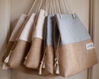 The Sandbag beach bag in classic storm grey / gray canvas and burlap