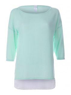 Womens Mint Sheer Bottom Panel Light Knit Top