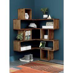 Ideas to decorate your corner space with unique corner shelf 06 - GODIYGO. Corner Shelf Design, Diy Corner Shelf, Wood Corner Shelves, Corner Bookshelves, Cube Shelves, Floating Shelves, Bookcase, Corner Space, Regal Design