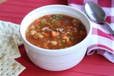 Vegetable Beef and Barley Soup - Prepare for fall and a busy school year by mixing up a pot of this delicious homemade soup, chocked full of vegetables, beef, and barley. It'll do your body good. Beef Soup Recipes, Cooking Recipes, Herb Recipes, Freezer Cooking, Freezer Meals, Kinds Of Soup, Barley Soup, Beef Barley, Homemade Soup