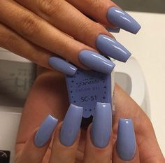 There are three kinds of fake nails which all come from the family of plastics. Acrylic nails are a liquid and powder mix. They are mixed in front of you and then they are brushed onto your nails and shaped. These nails are air dried. Aycrlic Nails, Blue Nails, Manicures, Fall Nails, Periwinkle Nails, Blue Coffin Nails, White Nails, Perfect Nails, Gorgeous Nails
