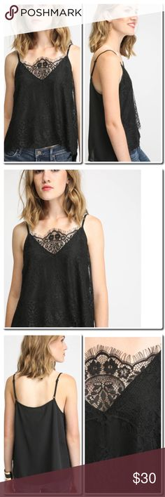 "NWOT Lace Overlay V-Neck Cami Top Details Sexy as it is versatile, this lace overlay cami top by Eight Sixty is perfect to pair with any skirt or pant throughout the year. With its V-neckline, adjustable shoulder straps, sleek color, and relaxed fit, this top is ready and waiting to be mixed and matched.   Lace overlay cami top V-neckline Adjustable shoulder straps Interior lining Black Hand wash cold Measures approximately 21"" from shoulder Model shown wearing size small (S) Tops Camisoles"