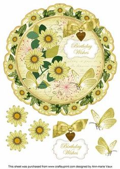 Lemon Daisy Birthday Wishes 8in Doily Decoupage Topper on Craftsuprint - Add To Basket!
