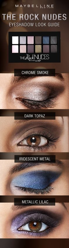 Answer the call of spring with this seductive metallic eye makeup that goes from dangerously smoky to dark topaz and from irresistible iridescent metal to lustrous lilac. Whatever your mood, we got the look with the new Maybelline Rock Nudes eyeshadow palette. Click to give in to your dark side and see more inspiration.