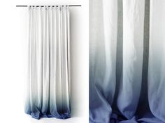 White Linen curtain Ombrè Blue | Pinch pleat drapes | Lovely Home Idea by LovelyHomeIdea on Etsy
