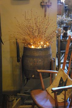 .good use for lighted twig branches too... Just an old barrel would do