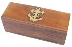 Maritime Holzbox 10x4x3,5cm Messing, Treasure Chest