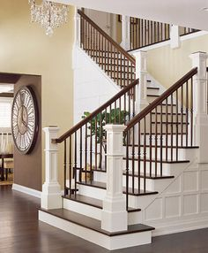 "I love beautiful staircases - my BHG dream home would have a breathtaking entry with a large, winding staircase and a beautiful chandelier that says, ""Welcome home!"" @Gayle Robertson Roberts Merry Homes and Gardens"