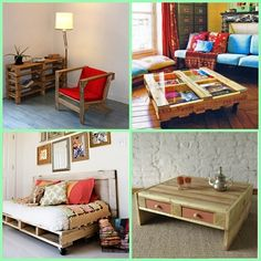 Unusual Decor and Furniture ~ here are some cool ideas to turn a basic wood pallet into unique pieces of furniture! Scroll down the page and check out other ideas too!