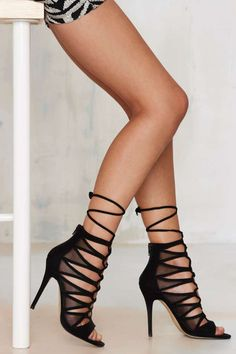 Black Lace-Up Suede Heel