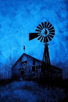 """""""regardless of everything, i came to know you as a relic."""" august silkscreen edition of - Art by Daniel Danger -- so hauntingly awesome! Country Barns, Old Barns, Country Living, Wooden Windmill, Farm Windmill, Old Windmills, Rhapsody In Blue, Southern Gothic, Himmelblau"""
