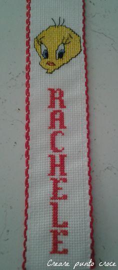 Segnalibro Rachele ricamato a punto croce