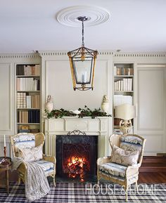 A moody, mottled marble surround and elaborate metal fire screen are artful.   Photographer: Virginia Macdonald   Designer: Colette van den Thillart