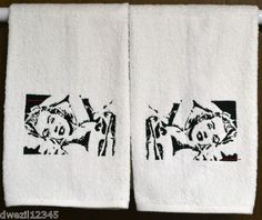 SEXY MARILYN MONROE - 2 EMBROIDERED HAND TOWELS by Susan
