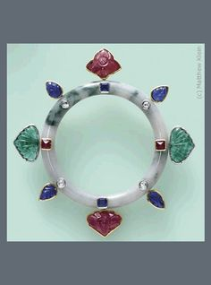 P-2123 Jade with carved Emerald, Sapphire, Ruby and Diamonds set in Platinum and 18K yellow Gold