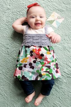 No pattern attached but this is a gorgeous crochet and sew baby dress for Maree & Kelli