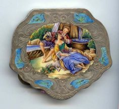 Italian Sterling Vermeil Figural Compact featuring Romantic Couple by Fountain with Dog & Sheep.