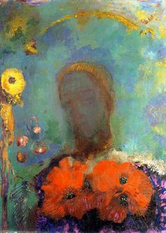 ODILON REDON.  Girl with Poppies.