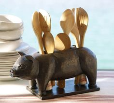 Pig Flatware Caddy | Pottery Barn  Kitchen Utensil Holder  http://www.potterybarn.com/products/pig-carved-wood-flatware-caddy/?pkey=e%7Cpig%2Bbbq%7C1%7Cbest%7C0%7C1%7C24%7C%7C1_src=PRODUCTSEARCH||NoFacet-_-NoFacet-_-NoMerchRules-_-#