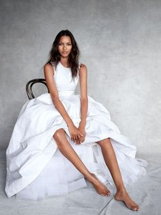 Lais Ribeiro in a simple yet elegant white gown. // Victoria's Secret Models In Couture For Vogue UK // Photo by Patrick Demarchelier