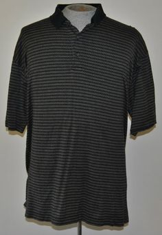 Gary Player Shirt XXL Black Striped Short Sleeve 100% Cotton Mens Polo, Rugby #GaryPlayer #PoloRugby Please Re-Pin Free Shipping Auction starting at $10.99