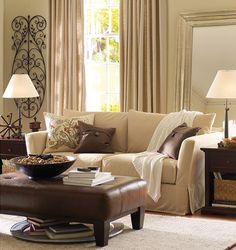 beige classic living room with throw blanket