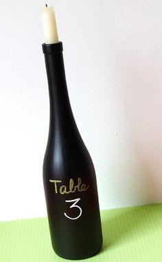 Oh I like this too!  Great idea for old wine bottles. Two coats of spray chalk board paint dry x 24 hrs. You can write on it, use it to number tables at a party, decorate & use as a menu, many more ideas.