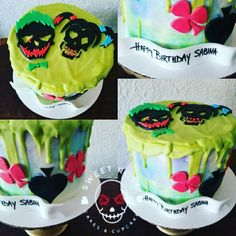 Suicide squad themed chocolate drip cake