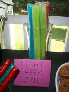 Star Wars Light Saber party snack (popsicles, of course!)