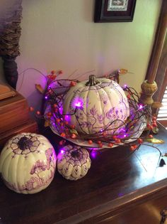 https://www.etsy.com/search?q=martha%20cool%20designs Hand painted pumpkins in shades of purple & plum for fall