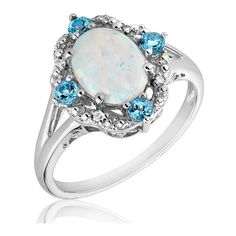 Sterling Silver Created Opal Blue Topaz And Diamond Ring ($115) ❤ liked on Polyvore
