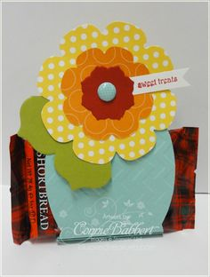 Floral Frames Framelits Candy Holder with Apothecary Accents framelits, Polka Dot Parade dsp, & Teeny Tiny Wishes. Thanks Connie!
