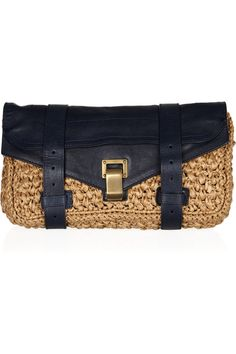 PS1 raffia and leather clutch | Proenza Schouler