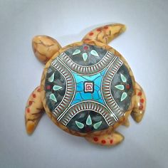 Polymer clay - Large Amber Sea Turtle w/Southwestern Medallion | by RenGalSA