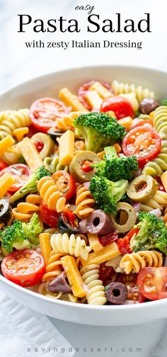 Try our Easy Pasta Salad Recipe packed with flavor and crisp fresh broccoli marinated in a homemade zesty Italian dressing. A summer classic! #pastasalad #pastasaladdressing #pastasaladrecipes #pastasaladrecipe #coldpastasalad #easypastasalad #salad #potlucksalad #summersalad