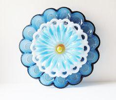 RESERVED ITEM Blue Glass Egg Plate Garden Art Yard by jarmfarm, $100.00