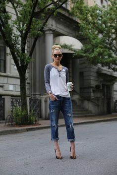 A baseball Tee can go along way to make you look stylish. Love this look!