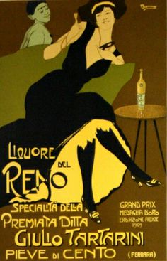 Liquore del Reno, 1909 (most likely a later print) - original vintage poster listed on AntikBar.co.uk