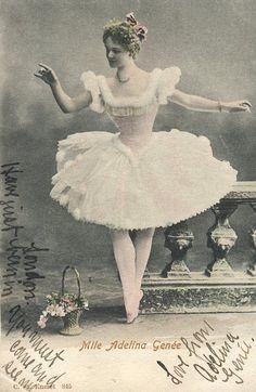 Mlle Adelina Genee ballerina ballet early 1900s Denmark postcard