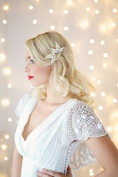 Laurel hairpins set of 3 £160.00 by Victoria Fergusson Accessories. Dress by Ru De Seine from Luella's Boudoir. MUA Elle Au Naturel. Photography Lydia Stamps. #bridalaccessories #pearls #swarovskicrystal