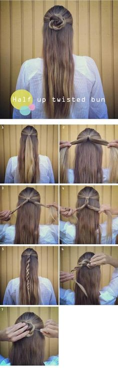 Half Up Twisted Bun Hairstyle