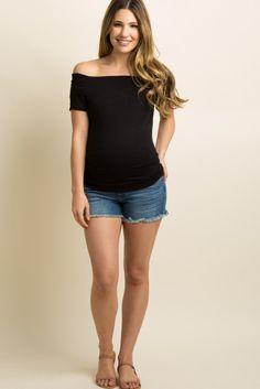 ee5c79b68eebc Blue Fringe Hem Maternity Jean Short A pair of medium wash maternity jean  shorts with a
