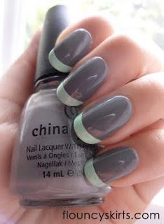mint and gray french mani