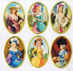 England Paper Lithographed Die Cut Scraps Oval Framed Marie Antoinette Ladies Out Of Print MLP 904 Childhood Toys, Childhood Memories, Good Old Times, Embossed Paper, Vintage Images, Altered Art, Vintage Toys, Paper Dolls, Paper Art
