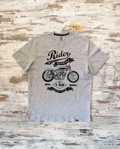 Camiseta Rider Motorcycle hombre gris